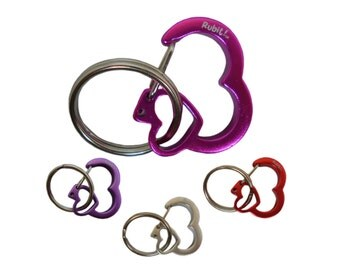 Rhinestone Heart Rubit Dog Tag Clip - Size Small & Medium - Colors Silver, Red, Pink, and Purple
