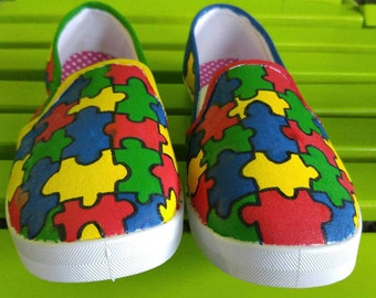 Hand Painted Autism Puzzle Slip On Shoes-MADE TO ORDER