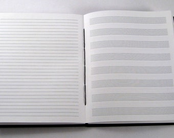 Guitar Tab+Lined Journal: 7x8.5 Songwriting Book with Guitar Tablature and Lined Paper; Coptic Stitched Music Notebook. Size Alto.