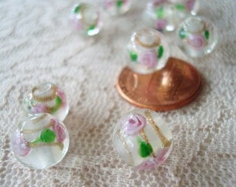 20 Handmade, Gold Sand & Roses, Lampwork Smooth 10mm Glass Rounds. Inlaid 3-D Pink Roses with Gold Swirls.  ~USPS Ship Rates/Oregon