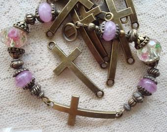 Reserve Listing 4 Ashley! 150 Big Bronze Cross Connecters. Curved, Unique Christian Bracelet Connecters 37x17mm  ~USPS Ship Rates / OREGON