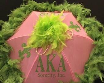 AKA, Alpha Kappa Alpha Sorority  Parasol - Authentic New Orleans Traditional  Second line Umbrella - AKA (Bride, Bridesmaid Pink and Green)