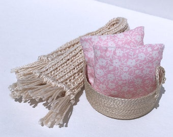 Shabby Chic Handmade Miniature Dollhouse Throw Pillow Set - Shabby Pink with White Flower