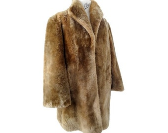 1950s Lamb  fur coat // size us8 // brown lambfur 50s coat // winter