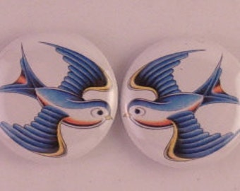 2 - 1 inch Old School Tattoo Sailor Jerry Style Swallow buttons, keychains, or flatbacks