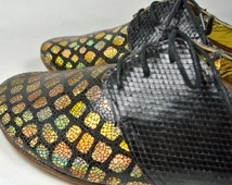 Size UK4 US6.5 EU37: Handmade leather ladies oxford style shoe. Leather Sole and Upper with Textured mirror printed leather Upholster