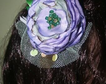 Lavender & Mint Green Flower Hair Clip, Facinator for Children or Adults, Boho, Statement Flower