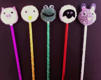 Pompom pencil toppers set of 5, party favour, pompom pencils, stocking filler,