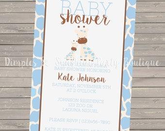 DIGITAL Light Blue Giraffe Baby Shower Invitation