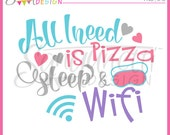Pizza Clipart, sleep clipart, lettering clipart, Instant download