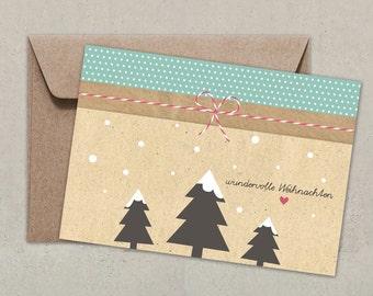 10 Postkarten + Umschlag | wundervolle Weihnachten