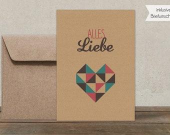 Postkarte + Umschlag | Alles Liebe braun