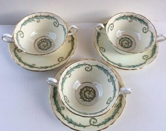 Set of 3 Aynsley Marina Flat Cream Soup Bowl and Saucers aqua wreath, gold trim #7515