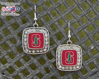 Stanford Cardinal Square Earrings