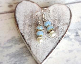 sterling silver pearl dangle earrings, czech glass earrings, bridal earrings, dangling pearl earrings, bridesmaids gift earrings