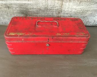 Vintage Red Little Pal Handy Kit Metal Tool Box