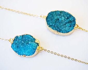 Bright Blue Turquoise Druzy Bracelet