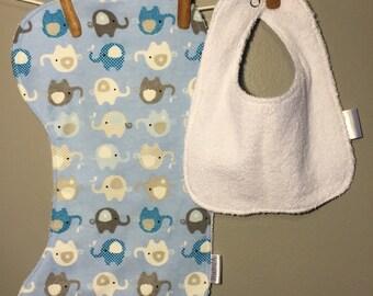 Elephant Baby Bib, Burp Cloth Set