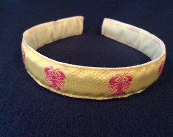Yellow and Pink Lobster Jacquard Ribbon Headband, Girls Headband, Womens Headband, Lobster Headband, Plastic Headband, Preppy Headband