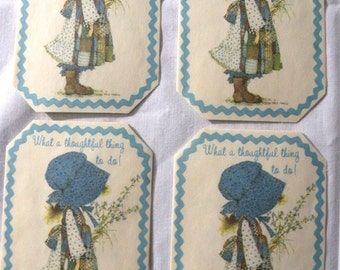 4 Vintage Holly Hobbie Thank You Cards Made From Parchment Paper No Envelopes