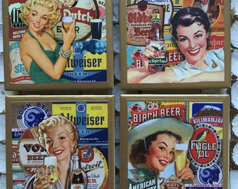 COASTERS!! Set of Vintage Beer Girls Coasters with Gold Trim