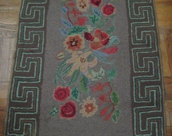 Antique American Floral Hooked Rug
