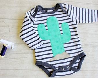 Cactus baby suit / bodysuit succulent / baby onesie / size 000 prickly pear bodysuit / neutral baby, newborn cacti onesie