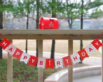 Red And White Happy Birthday Garland BannerBunting  Birthday Party Decoration Kids Baby Birtday Decoration Hanging