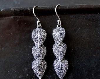 Three Leaf Granulation Sterling Silver Earrings