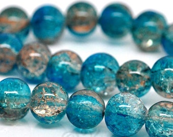 Turquoise Crackle Glass Beads 10mm - 20/50/100 Wholesale Aqua And Khaki Crackle Glass Beads For Jewelry Making G2254