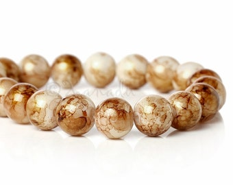 Brown Gold Dust Glass Beads - 50/100/200 Wholesale 10mm Round Beads For Jewelry Making G4934