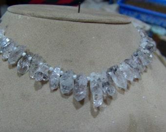 1 Strand  Herkimer Diamond quartz Rough  beads 8'' 20, grams  6X9, 6X22  MM