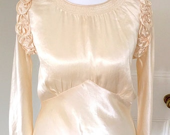 Vintage 1930s Art Deco Glamorous Slinky Satin and Lace Wedding Dress One of a Kind Showstopper Gown with Train