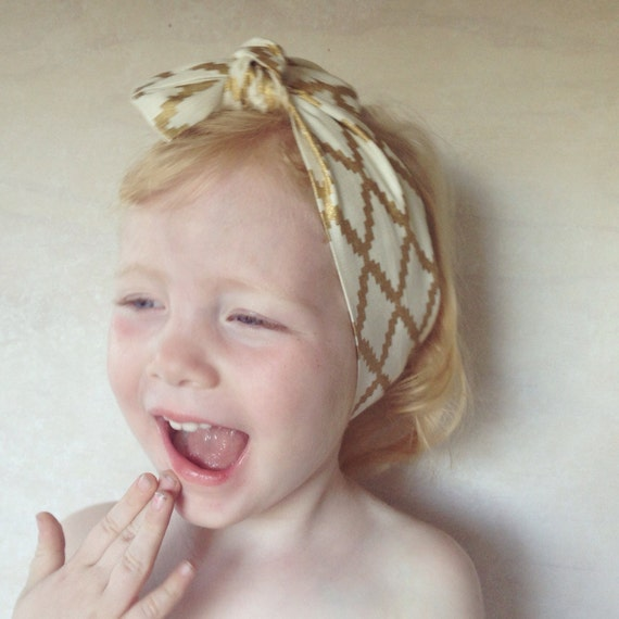 Pure Linen Head Wrap in Gold
