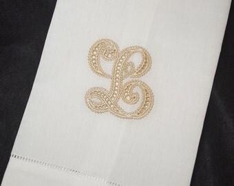 Cutwork Monogram Linen Finger Tip Towel
