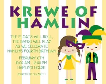 Mardi Gras Birthday Party Invitation | New Orleans | Beads | Mardi Gras Krewe | Yellow Stripes | Mask-FREE SHIPPING or DIY printable