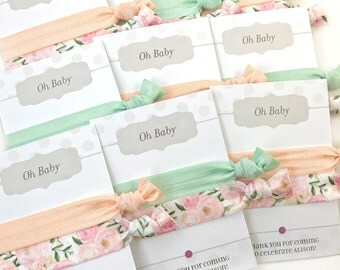 Pastel Baby Shower Favors, Floral Party Decorations, Peach and Mint Baby Shower Decorations, Baby Shower Prizes, Hair Tie Favors