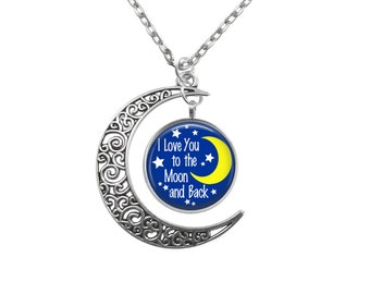 Love you to the moon Crescent Pendant choice of background V4429