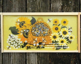 Original Honey Bee Painting - Honey Bee Hive Skep with Sunflowers - Honeybee Bee Painting Acrylic Bee Frame Wall Art Apiary Hive Home Decor