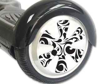 Skin Decal Wrap for Hoverboard Balance Board Scooter Wheels Swirly Black