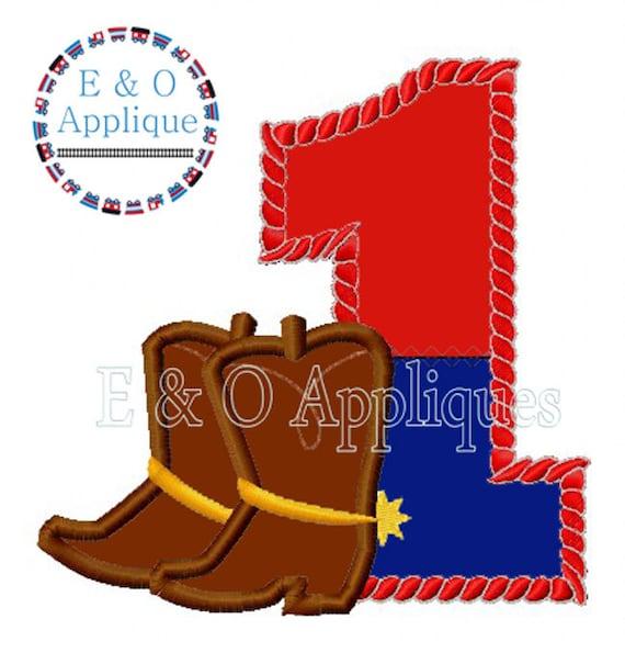 Cowboy Cowgirl Boots Birthday Applique 1st Birthday Design