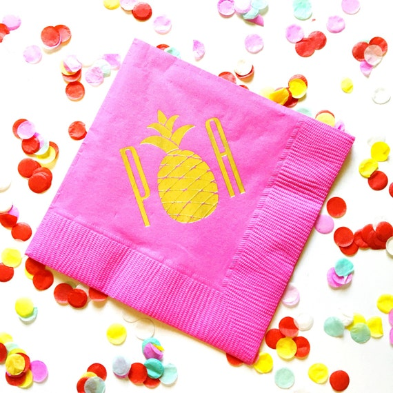 pineapple napkins, monogrammed napkins, personalized party napkins, bar cart napkins, gold foil napkins, pineapple gift