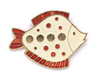 Fish, Badge, Vintage collectible badge, Animal, Brooch, Pin, Made in USSR, 1980s