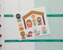 Christmas Nativity set Planner Sticker sampler Set for Erin Condren Filofax and more