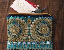 Embellished Blue Pouch. Bohemian Bag. Boho Clutch.
