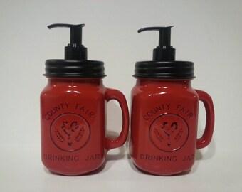 Mason Jar Soap Dispenser -cute - country decor - farmhouse - rustic - pint size mason - wedding gift - red - bathroom - kitchen - home decor