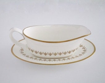SALE Royal Worcester England Fine Bone China Summer Morning Gravy Boat with Saucer Set, Replacement, Vintage Tableware