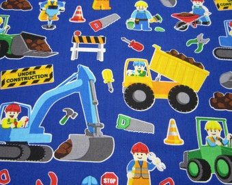 Childrens Construction Cotton Fabric by Timeless Treasures in Royal Blue Background