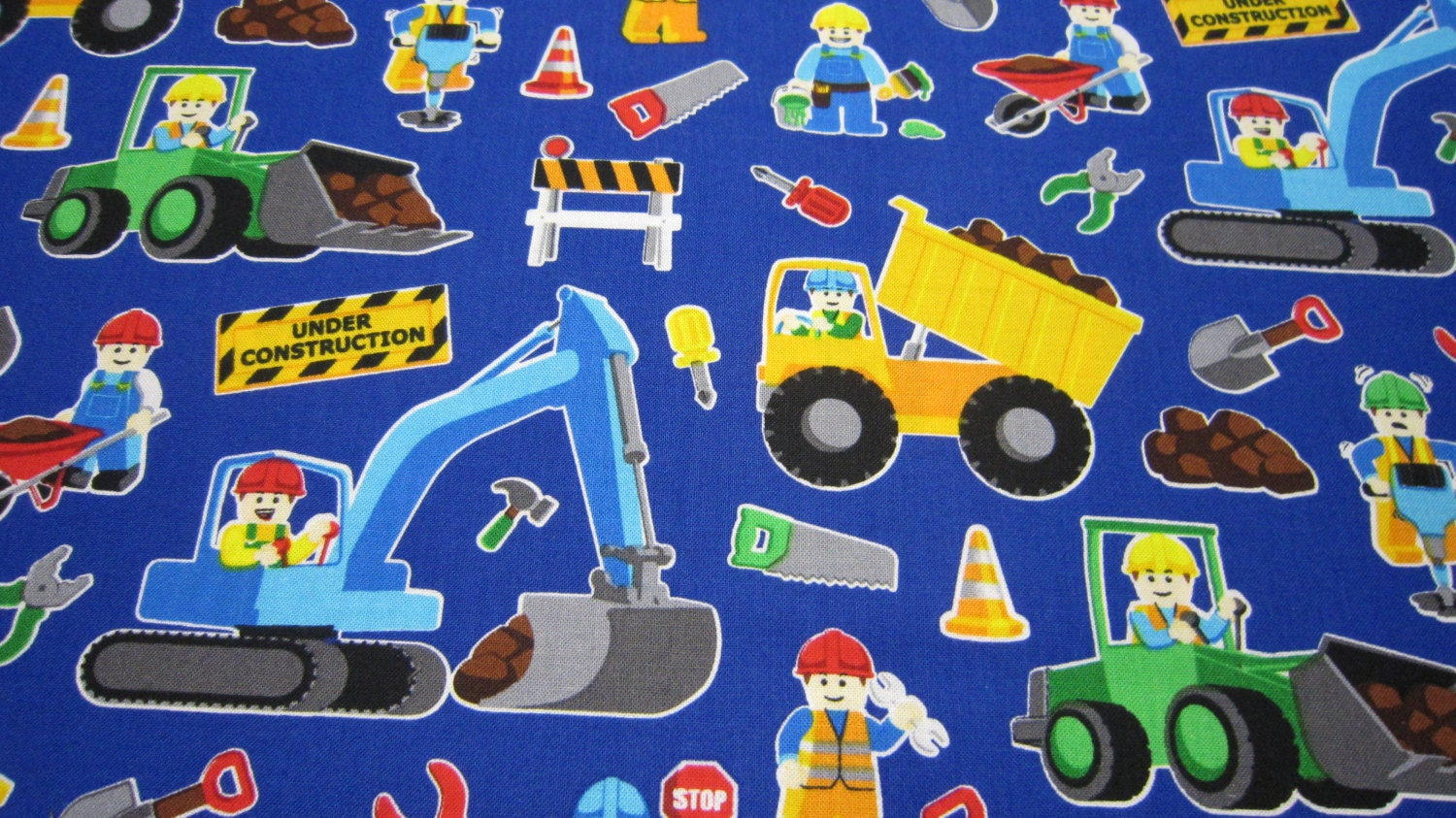 Childrens construction cotton fabric by timeless treasures in for Childrens fabric