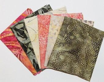 Batik Fat Quarter Bundle, Sedona Sands,  Fabric Destash, 6 Pc Bundle